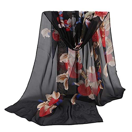 Khwjzh sciarpe sciarpe e stole in chiffon morbido scialle da spiaggia con stampa floreale e scialle