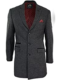 Long Manteau hiver Crombie over ¾ veste velours gris bleu marine tweed chevrons