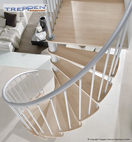 Intercon spiral staircase Flamenco silber in 120/140/160 cm diameter up to 305 cm floor height