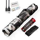 Klarus XT2CR Lampe de Poche Tactique 1600 lumens Lampe EDC Torche CREE XHP35 HD E4 LED étanche Rechargeable USB, avec Batterie 18650 et lampe USB BanTac(camouflage urbain)