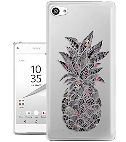 c01405 - Tropical Pineapple Black Aztec Pattern Design Sony Xperia Z5 Compact Fashion Trend Protecteur Coque Gel Rubber Silicone protection Case Coque