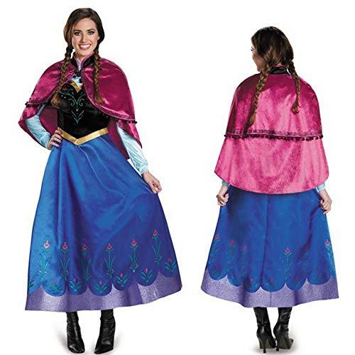 CN Kostüm-Jahrestags-Ballkleid-Erwachsen-Schneeprinzessin-Kleidstadium Cosplay Kostüm des Weihnachtskostüms Mit Mantelkopfschmuckrock,Anna,XL