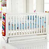 Izziwotnot Skyline 3 Piece Cot Bed Furniture Room Set, High Gloss White