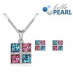 Bella Pearl Designer Square Crystal Pendent and Earrings Necklace with Best Offer For Girls and Womens.