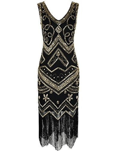 Kayamiya Damen Flapper Kleider 1920er Jahre V-Ausschnitt Inspiriert Paillette Fransen Großes Gatsby Kleid XL Gold