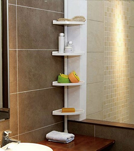 FunkyBuys® WHITE 4 Tier Adjustable 70-240 cm (SI-077) Telescopic Corner Shower Bathroom Shelf Organiser Caddy