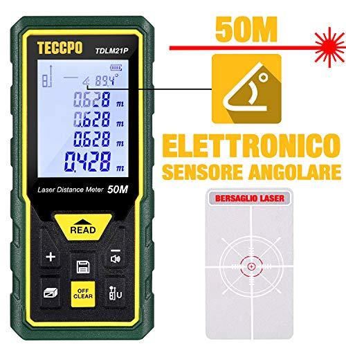 Telemetro Laser 50M, TECCPO Misuratore Laser Distanza, Sensore Angolare Elettronico, m/in/ft/ft+in, Funzione Muto, 30 Gruppi Dati, Distanza, Area, Volume, misura del Pythagore, Angolo, IP54, TDLM21P
