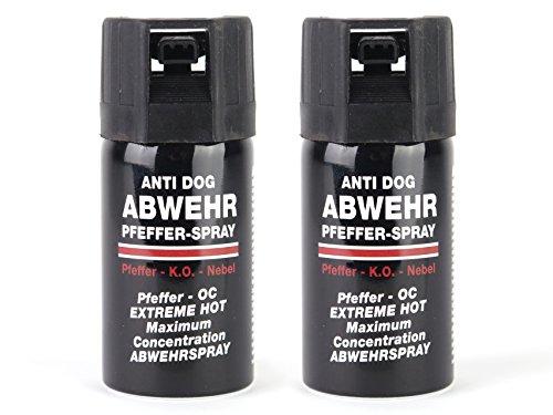 2 Stück Extrem High Pfefferspray Hunde ABWEHR - 40 ml maximal konzentriert zur Tierabwehr! 4m Reichweite