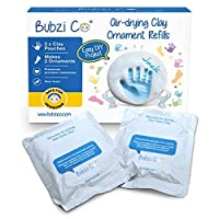 Bubzi Co Baby Handprint & Footprint 2X Air-Drying Clay Ornament Refills for Newborns & Infants to Make More Ornaments, Personalized Keepsake for Baby Nursery Decor - Great Baby Gift for Baby Registry
