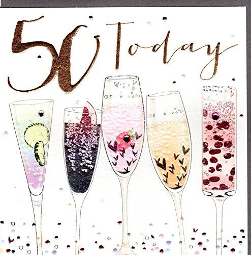 Belly Button Designs Paloma bezaubernde Glückwunschkarte zum runden 50. Geburtstag mit Prägung, Folie und Kristallen BB411