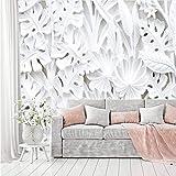 murimage Papier Peint Fleurs 3D 274 x 254 cm Photo Mural Blanc Plantes Florale Stuc Trompe l'Oeil Luxe Noble Salon Chambre wallpaper colle inclus...