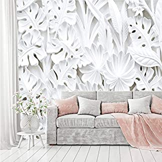 murimage Papel Pintado Flores 3D 366 x 254 cm Plantas Florales Estuco Blanco Dormitorio Salon Fotomurales Pared incluye pegamento
