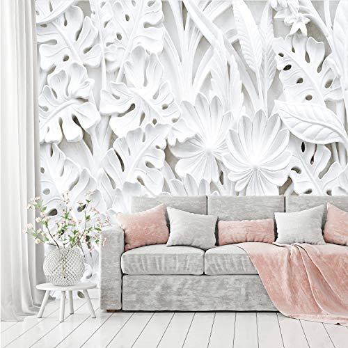 Murimage carta parati fiori 3d 366 x 254cm bouquet giardino stucco vegetale lusso cucina camera fotomurali wallpaper include colla