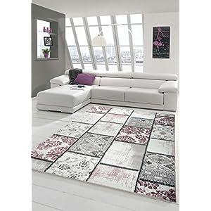 Edler Designer Teppich Moderner Teppich Wohnzimmer Teppich Patchwork Vintage Meliert Karo Muster in Lila Creme Grau Rosa Schwarz Größe 80x150 cm
