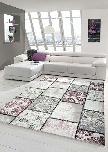 Edler Designer Teppich Moderner Teppich Wohnzimmer Teppich Patchwork Vintage Meliert Karo Muster in Lila Creme Grau Rosa Schwarz Größe 80x150 cm - Teppich Schwarz Und Lila
