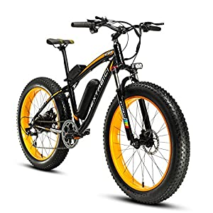 Cyrusher Extrbici XF660 48V 500 Watt Jaune Noir Vélo Electrique Vélo Electrique pour Homme 7 Vitesses Vélo Electrique Freins à Disques