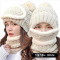 China Show Mujer Moda Invierno Gorro Gorro para Forro Polar Juego Color Blanco (Sombrero + Máscara + Bufanda)
