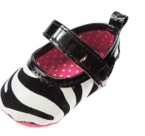 Bébé fille Imprimé Animal Sangle Velcro Première Walker Chaussures Sandales Vache ou Imprimé girafe noir/blanc