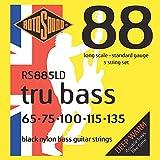 Rotosound Schwarze Nylonsaiten für E-Bass, Flachdraht, Standardstärke 65-135