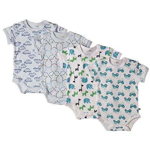 Pippi 4er Pack Baby Jungen Body mit Aufdruck, Kurzarm, Alter 18-24 Monate, Größe: 92, Farbe: Blau, 3820