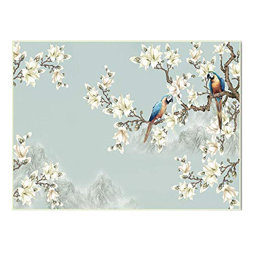 Square Modern Soft Flannel Gray China Style Bird Flower Rug, Anti Slip Underlay Carpet for Hard Floors Livingroom Bedroom Bedroom Baby Kids Playmat (Multi-Size),120×160cm