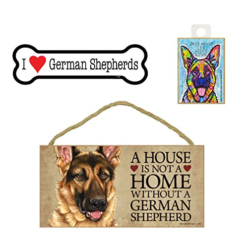 SJT Deutscher Schäferhund Geschenk Bundle-Wandschild A House is Not A Home Without A Deutscher Schäferhund, Auto-Magnet I Love Schäferhund, Hunde und Kühlschrank Magnet Never Lie About Love -