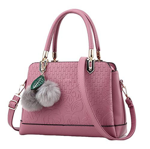 Damen Handtasche Einfache Wilde Schultertasche Messenger Bag Pink