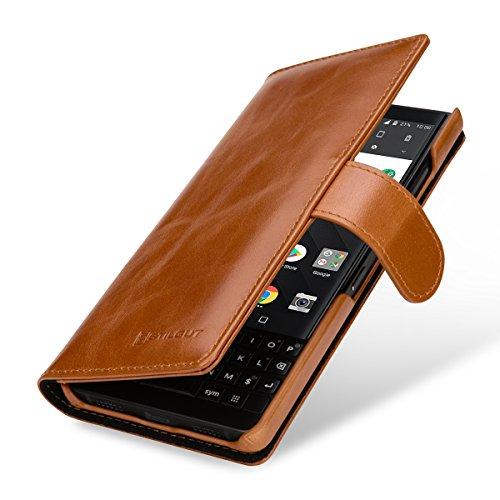 StilGut Talis Lederhülle für BlackBerry Key2 mit Kreditkarten-Fächern aus echtem Leder. Seitlich aufklappbares Flip Case in Brieftaschen-Format, Cognac