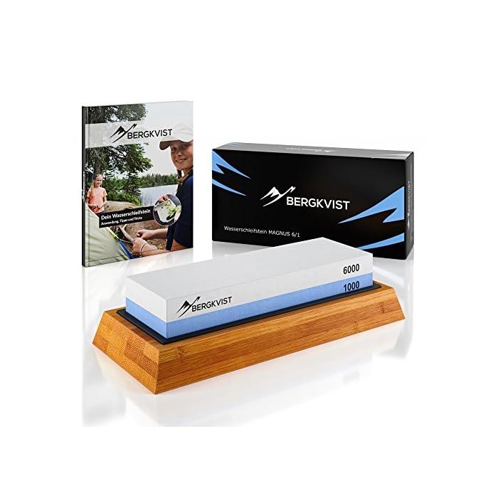 BERGKVIST® Messerschaerfer Profi 6000/1000 I 2-in-1 Wasser-Schleifstein zum Schärfen von Outdoor und Küchen-Messer I…