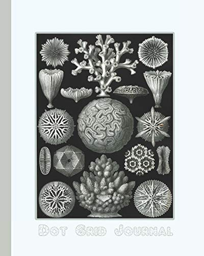 Dot grid journal: Ernst Haekel's Radiolaria  (1862) microscopic organisms cover art for the vintage illustration appreciator or ocean lover - Grey ... black and grey radiolaria image cover art