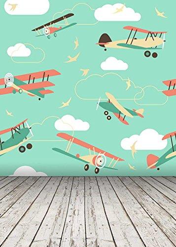 Digital Cartoon Flugzeug Flugzeug Holz Boden Fotografie Studio Hintergrund (Schloss-requisiten)