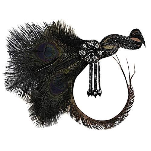 COZOCO 2019 Einfaches und nützliches Stirnband 1920er Jahre Headpiece Feather Flapper Stirnband Great Gatsby Kopfschmuck Vintage Schwarz Freie Größe