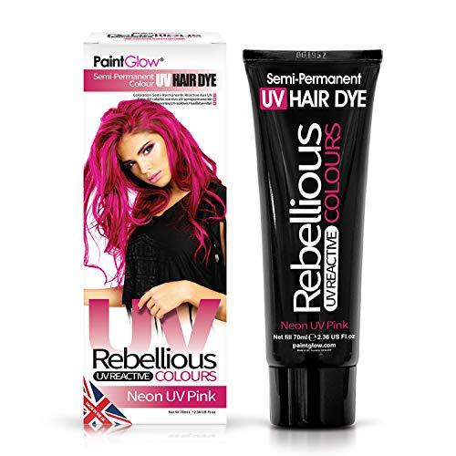 PaintGlow Neon-Haarfarbe, semi-permanent, 70 ml, helle Neonfarben, leuchtet unter UV-Schwarzlicht, vegan und ohne Tierversuche