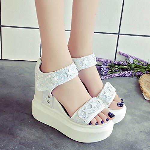 RUGAI-UE Con suole spesse sandali donna estate calzatura Waterprohigh-Heeled Sequined Calzature Donna White