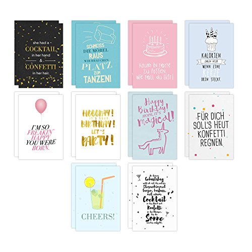 20er Postkarten Set GLÜCKWUNSCHKARTEN mit Sprüchen von VISUAL STATEMENTS® / 2 x 10 verschiedene hochwertige Geburtstagskarten / 350g schwerer Bilderdruckkarton / 12 x 17,5 cm / XXL Format / Set GEBURTSTAG