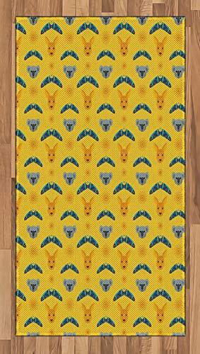 ABAKUHAUS Känguru Teppich, Aboriginal Art Boomerang, Deko-Teppich Digitaldruck, Färben mit langfristigen Halt, 80 x 150 cm, Mehrfarbig
