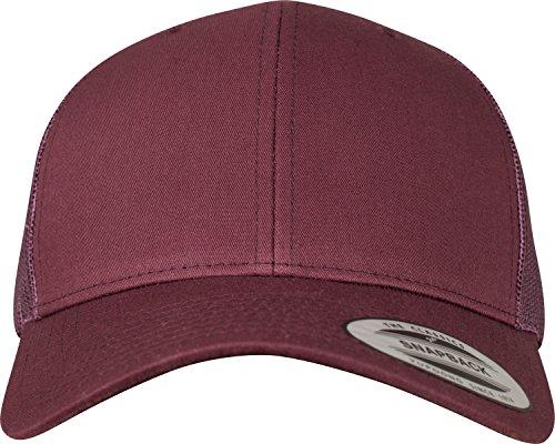 Flexfit Snapback Unisex Baseball-Mütze | Trucker Kappe Mesh Basecap, Rot (maroon), Gr. One size
