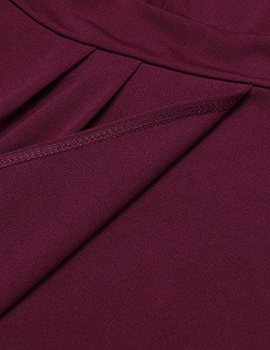 ANGVNS Damen Etuikleid V-Ausschnitt Wickelkleid Bleistiftkleid Ärmellos Knielang Bodycon Kleid Business Kleid mit Rüschen Weinrot Gr.40 -