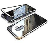 Fantasyqi Fundas Compatible con Samsung Galaxy S8 Plus/Samsung Galaxy S8+ Funda 360 Grados Ultra Delgado Transparente Vidrio Templado Cubierta Posterior Adsorción Magnética Parachoques de Metal