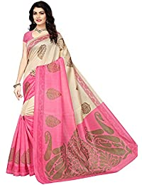 Fabwomen Printed Cotton Silk Saree With Blouse Piece
