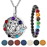 JSDDE Aromatherapy Essential Oil Diffuser Necklace Silver 7 Chakra OM Symbol Locket Pendant With 5 Dyed Lava Stones & 7 Chakra Lava Stone Bracelet