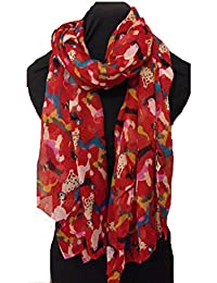 Red overlapping dogs multi coloured scarf sausage dog dalmatian irish wolfhound doodle