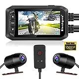 Blueskysea Blueskysea DashCam Videocamera per Moto 1080P Dual Obiettivo da 2,7'LCD Anteriore/Posteriore DVR Impermeabile con Sensore G, Registrazione Loop GPS, Visione Notturna