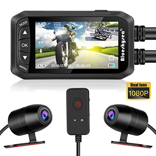 Blueskysea DashCam - Videocámara para Moto, 1080p, Doble Lente de 2,7 Pulgadas, LCD, Delantera / Trasera, DVR, Impermeable, con Sensor G, grabación en Bucle, GPS, visión Nocturna