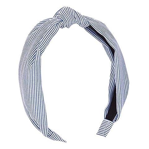 Serre tête noeud rayé bleu - Serre-tête Femme - Serre-tête