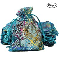 Alxcio Organza Gift Bags Candy Pouch Chocolate Pouch Jewelry Bags Coralline Blue Drawstring Pouches for Christmas Wedding Favor Gift 100Pcs,10cm x 15cm