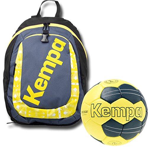 Kempa zaino con palla rete per bambini con passenden mano ball giallo/petrolio, petrol/gelb, Set da 3