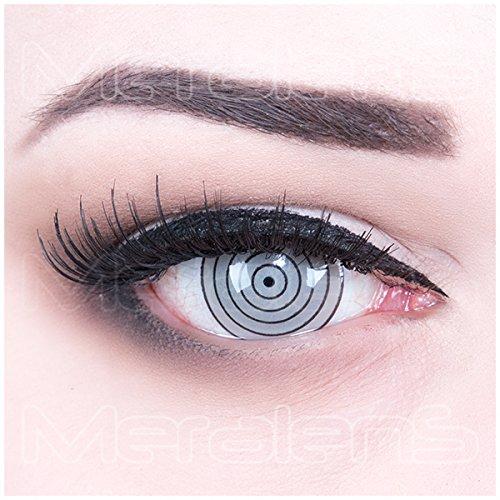 ni Sclera graue Rinnegan Eye Kontaktlinsen Lenses inkl. 60 ml Pflegemittel und Behälter, weich ohne Stärke, 2er Pack - Top-Markenqualität, angenehm zu tragen und perfekt zu Halloween oder Karneval (Kostüm Kontaktlinsen Sclera)