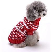 Tuopuda Navidad Mascotas suéter Invierno Perro Nieve Lana del Perrito Traje Caliente Ropa de Abrigo (L, Rojo)