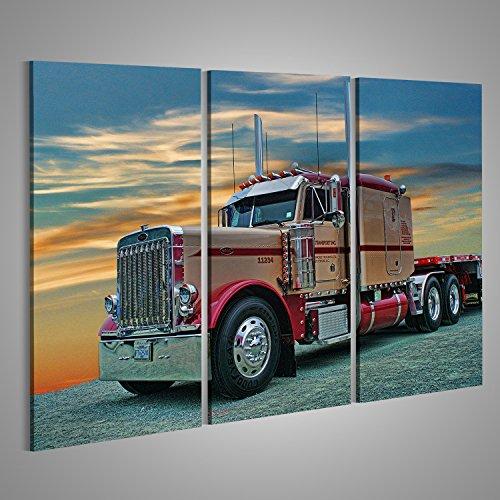 islandburner Bild Bilder auf Leinwand XXL Leinwandbild Wandbilder Kunstdruck Poster Topseller ! 3-teilig ! AXF Semi Truck LKW Peterbilt - Truck Usa